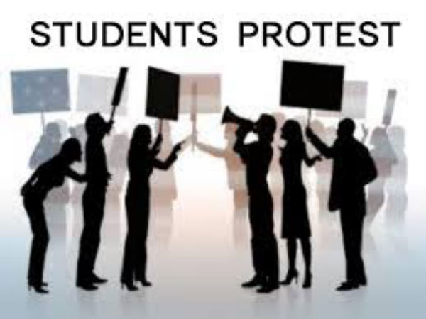Students protest against convention center