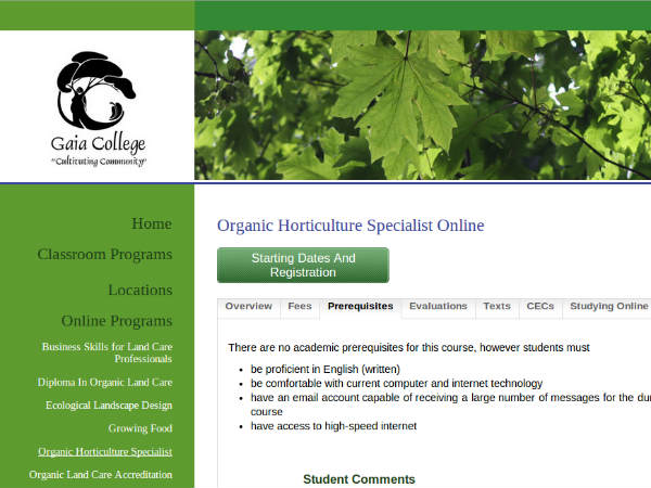 Online course on Horticulture