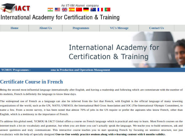 Online course on French language