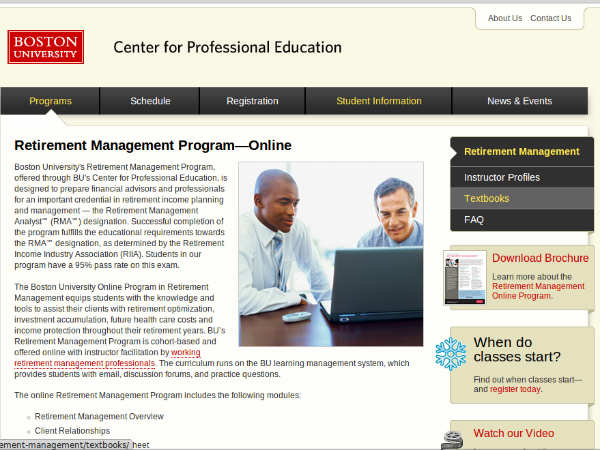 Online course on Retirement Management