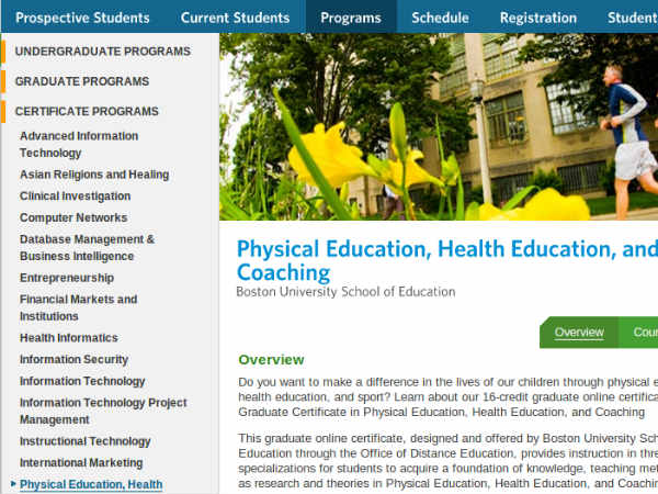 Online course of Physical Education