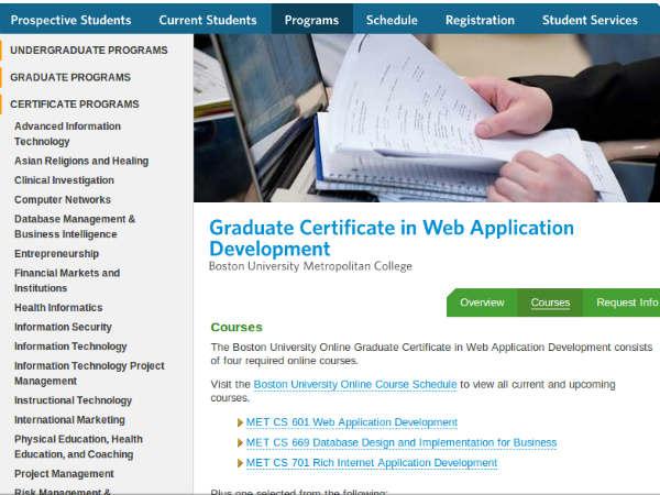 Online course on Web Application Development