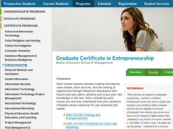 Online course on entrepreneurship