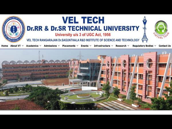 B.Tech admissions at VEL TECH Technical University