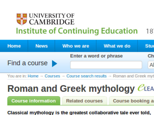 Online course on Roman and Greek Mythology
