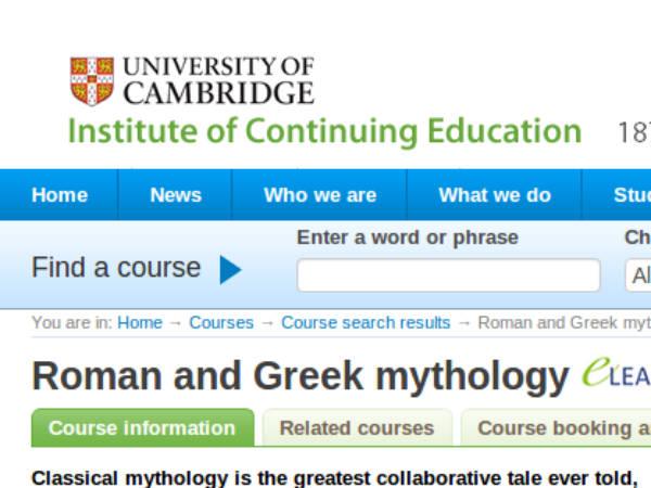 Online course on Roman and Greek Mythology