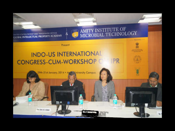 From L-R Ms. Kalpana Reddy- US Embassy, Maj. Gen K.J. Singh, Group Vice Chancellor - Amity University, Ms. Kitisri Sukhapinda, Attorney-Advisor, USPTO, Dr. Arvind Kumar -DDG, Education, ICAR