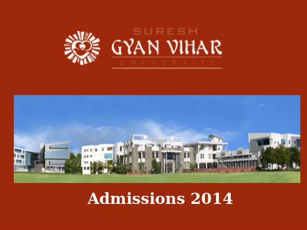 Suresh Gyan Vihar University's admissions 2014