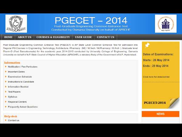 AP PGECET 2014 Time Table and Exam Pattern