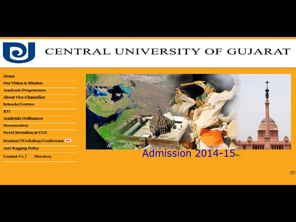 PG admissions at Central University of Gujarat