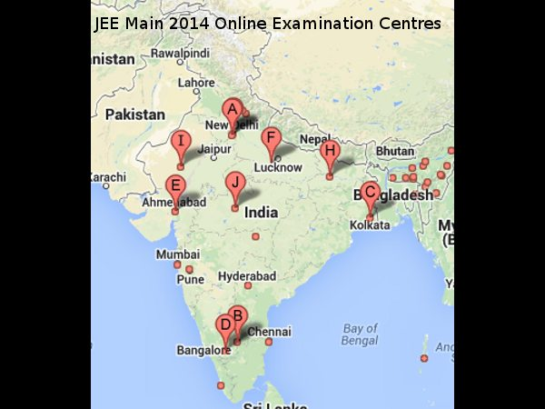 How to reach JEE Main 2014 Online Exam Centres?
