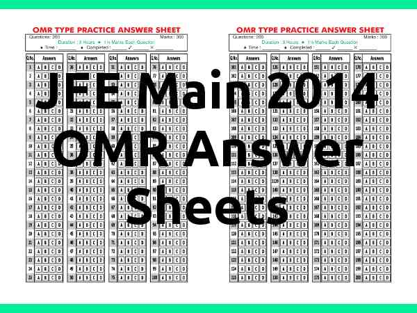 Verification OMR Answer Sheets : JEE Main 2014