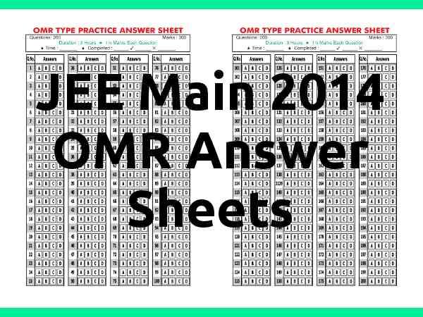 View OMR Sheet of JEE Main 2014 Paper II