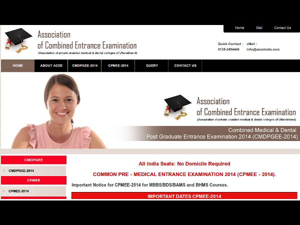 ACEE, Uttarakhand announce CPMEE 2014 results