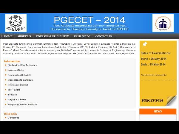 Download AP PGECET 2014 Rank Card