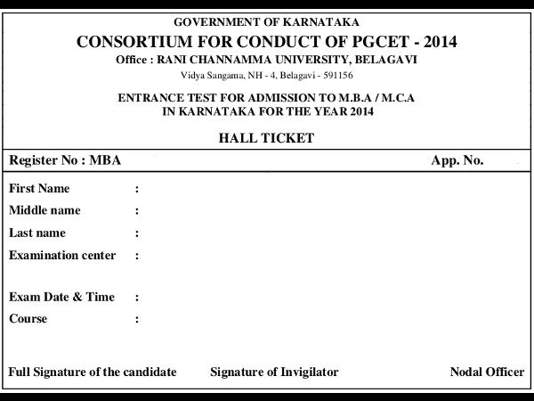 Download Karnataka PGCET 2014 Admit Card