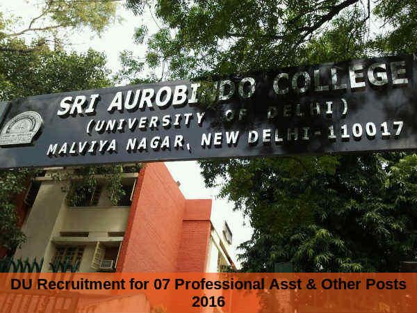 Sri Aurobindo College, DU Hiring 7 Posts 2016