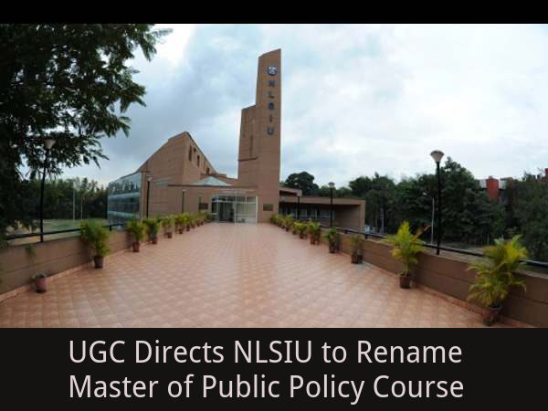 UGC Directs NLSIU to Rename Course