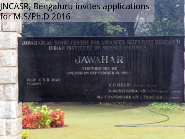 JNCASR, Bengaluru invites application for M.S/Ph.D