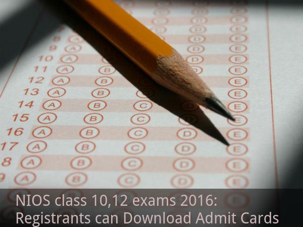 NIOS class 10,12 exams 2016: Admit Cards