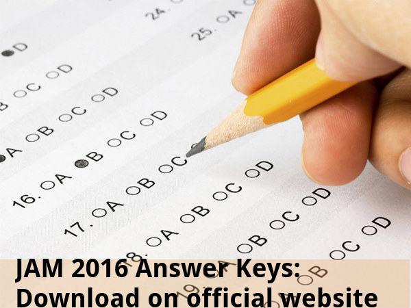 JAM 2016 Answer Keys: Download on official website
