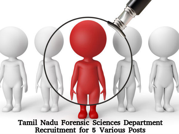 Forensic Sciences Department, TN Recruitment 2016
