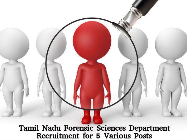 Forensic Sciences Department, TN Recruitment 2016