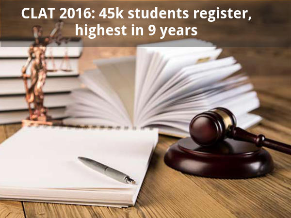 CLAT 2016: 45k students register, highest in 9 yrs