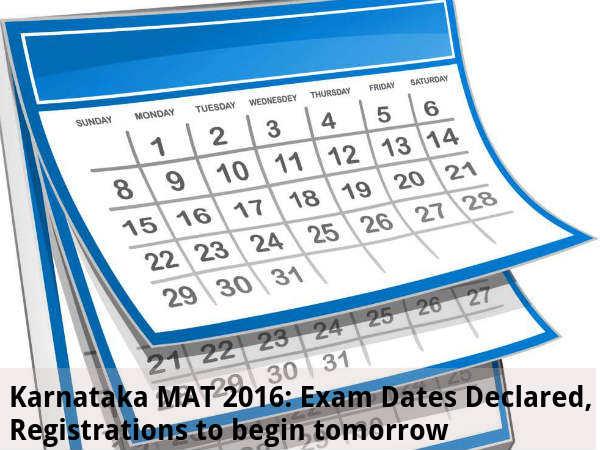 Karnataka MAT 2016: Exam Dates Declared
