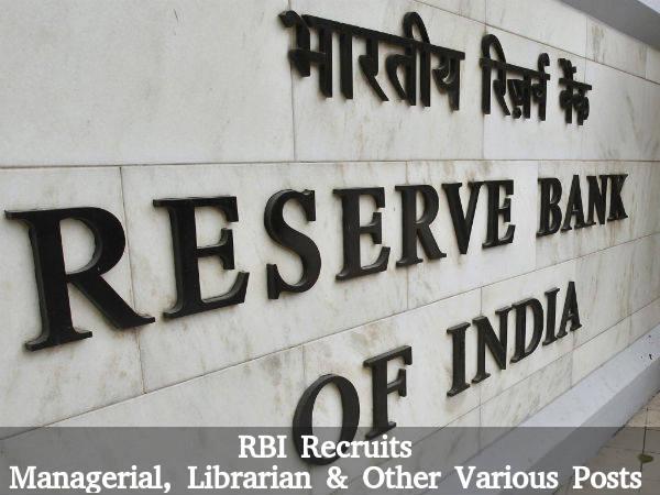 RBI Recruits 27 Posts 2016