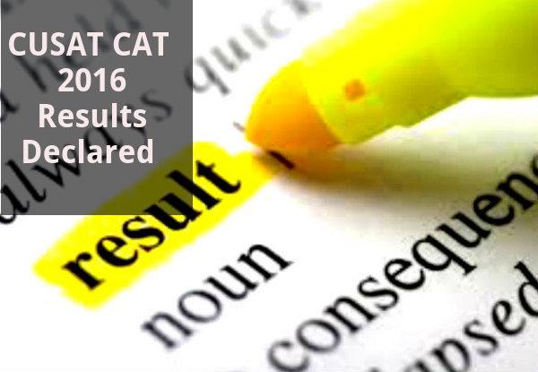 CUSAT CAT 2016 Results Declared