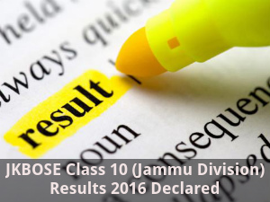 JKBOSE Class 10 (Jammu Division) Results 2016