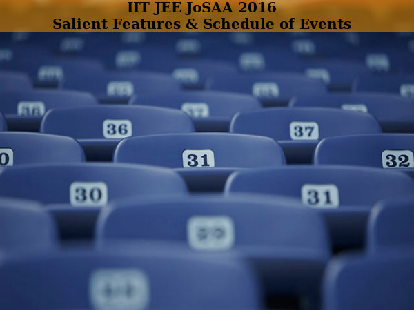 IIT JEE JoSAA 2016: Salient Features & Schedule