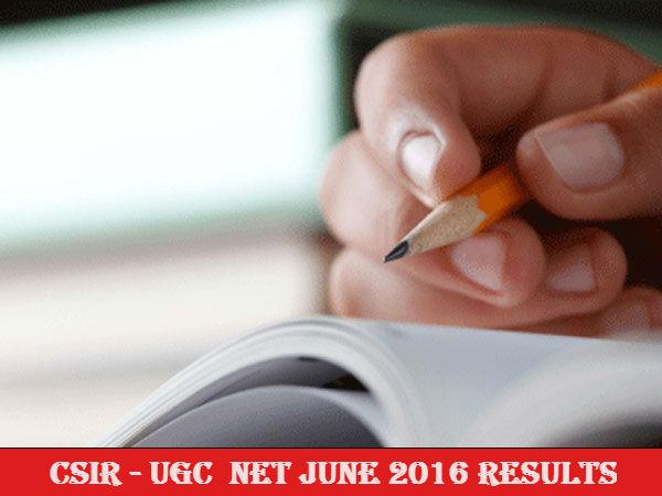 CSIR UGC NET - June 2016 results declared