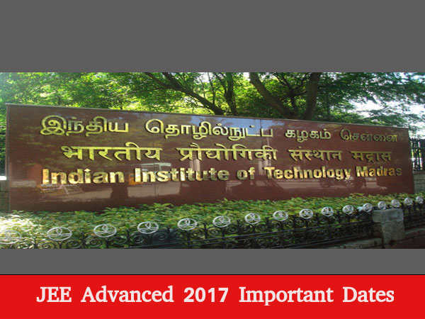 JEE advanced 2017 important dates