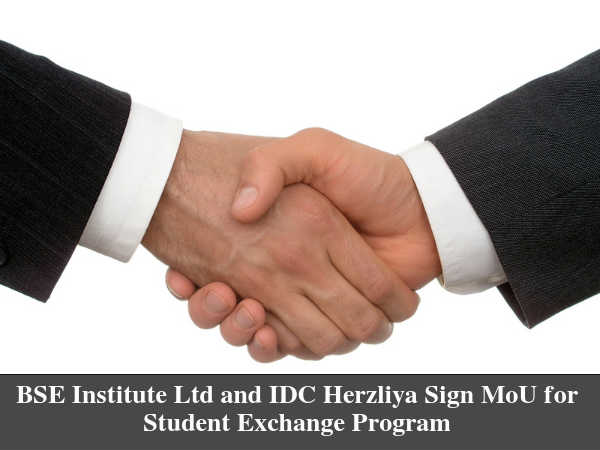 BSE Institute Ltd and IDC Herzliya Sign MoU