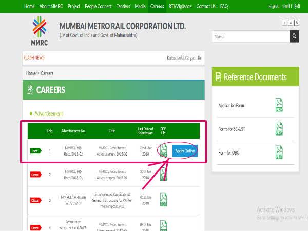 Mumbai Metro Rail Corporation Limited Mmrcl Recruitment For