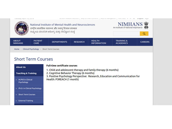 Psychology Courses From NIMHANS