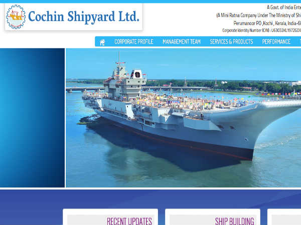 Cochin Shipyard Recruitment 2018 For Executive Trainees: Earn Up To INR 140000!
