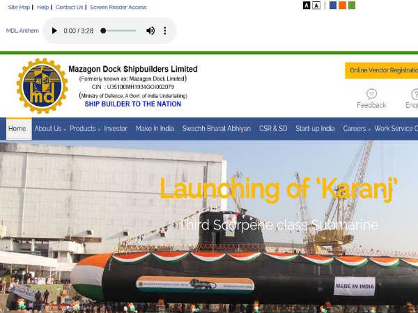 Mazagon Dock Shipbuilders Limited Recruitment 2018