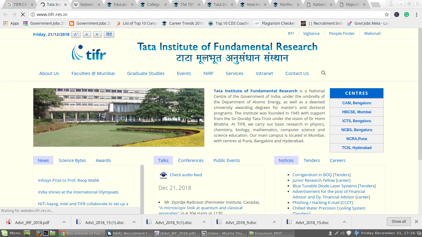 TIFR Recruitment For Multiple Positions