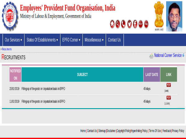 EPFO Recruitment 2019 For CE, AEEs, JEs