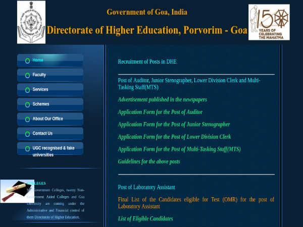 DHE Goa Recruitment For Auditors, Stenos