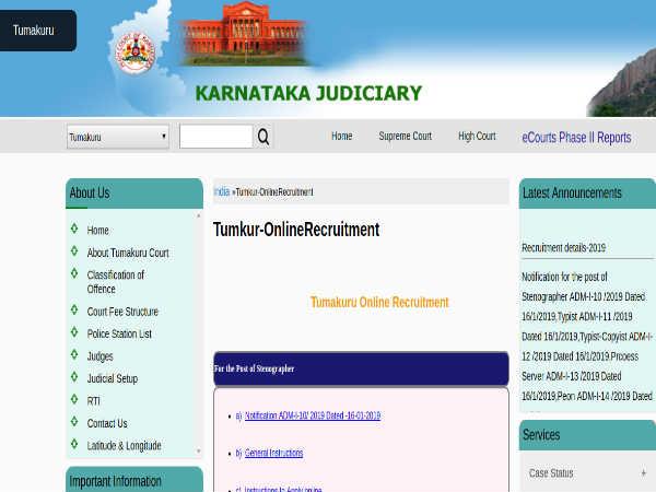 Tumkur District Court Recruitment 2019