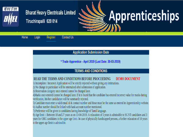 BHEL Trichy Recruitment 2019 For 400 Trade Apprentices; Apply Before March 30