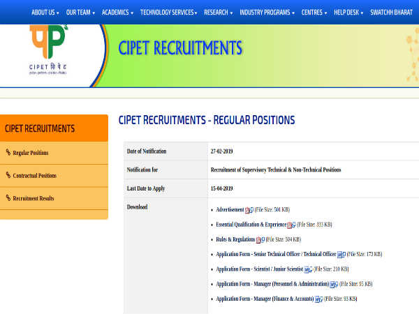 CIPET Recruitment 2019: Supervisory Post
