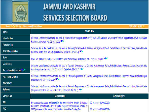 JKSSB Recruitment 2019: Jr. Staff Nurse