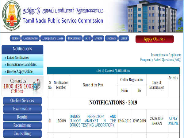 TNPSC Recruitment 2019 For 49 Drug Inspectors And Junior Analysts; Earn Up To Rs. 1 Lakh Per Month