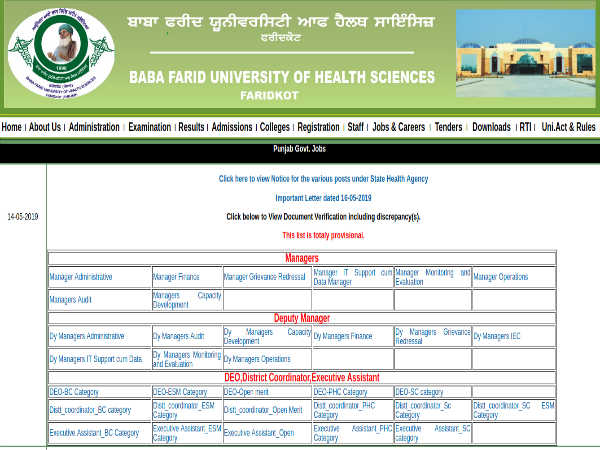 BFUHS Recruitment 2019 For 68 Managers, Deputy Managers, EA And DEOs Through 'Walk-In' Selection