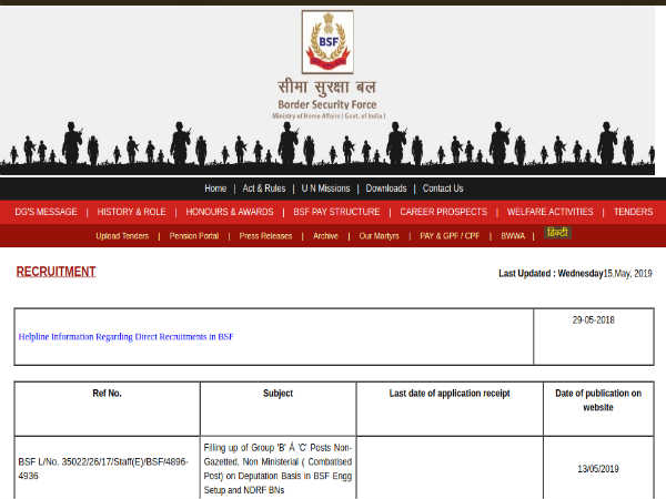 BSF Recruitment 2019 For 204 Group B and C Posts; Apply Offline Before June 21